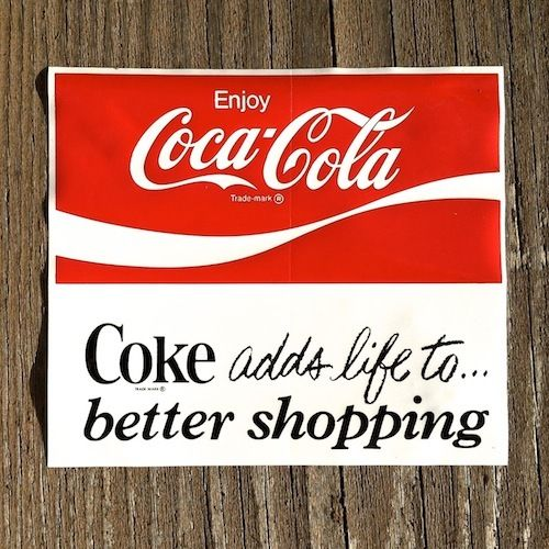 COCA COLA Window Decal Sticker 1960s