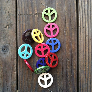 GROOVY PEACE Drilled Multi Colored Beads