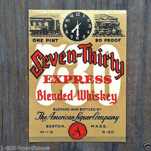 SEVEN-THIRTY EXPRESS WHISKEY Bottle Label 1930s