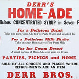 HOMEADE CONCENTRATED SYRUP Cardboard Sign 1930s