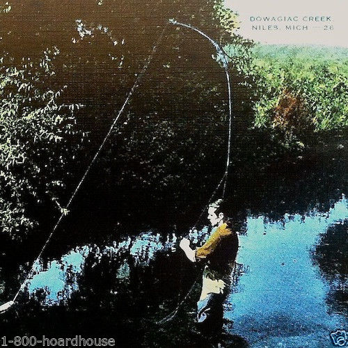 FLY FISHERMAN Linen Postcard 1930s