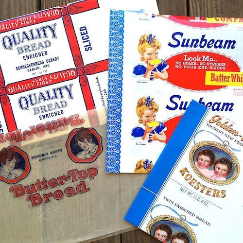 WAX PAPER BREAD Wrapper Collection 1930s-40s