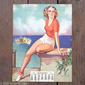 LUCKY STRIKE Accent on Youth Pinup Lithograph Calendar 1939