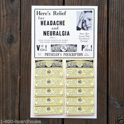 BURMAC HEADACHE Remedy Store Display 1930s