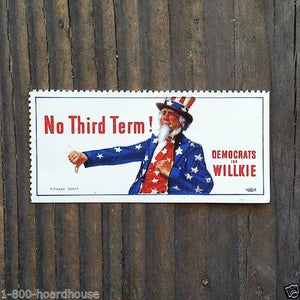 DEMOCRATS FOR WILLKIE Poster Stamp 1940