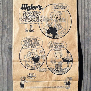 FAMILY CIRCUS Brown Paper Lunch Comic Bags 1983