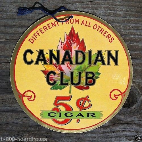 CANADIAN CLUB 5¢ CIGAR Cardboard Sign 1930s