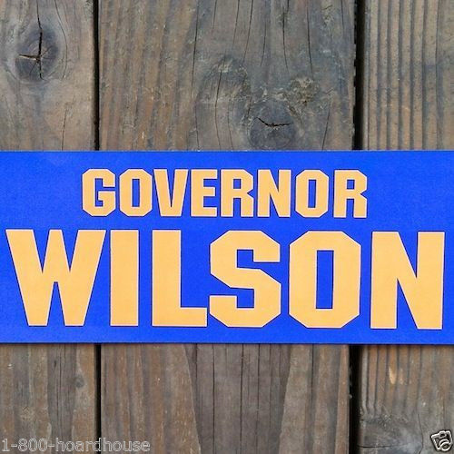GOVERNOR WILSON Campaign Bumper Sticker 1970s