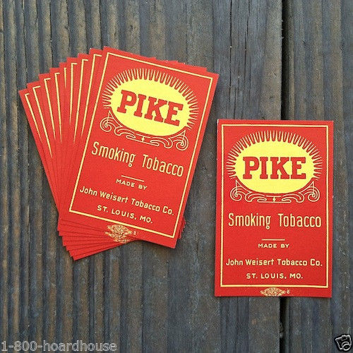 PIKE SMOKING TOBACCO Package Labels 1920s