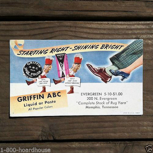 GRIFFIN ABC SHOE POLISH Desk Pad Ink Blotter 1949
