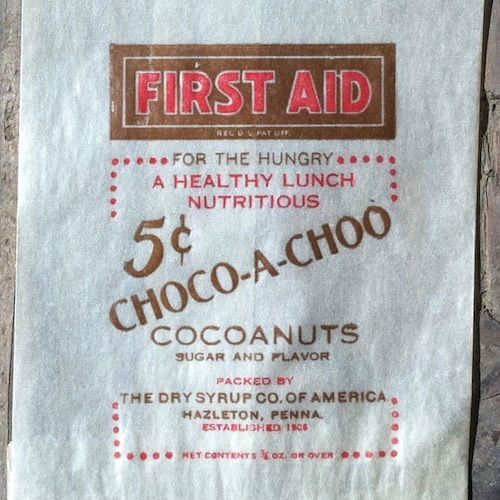 FIRST AID CHOCO-A-CHOO COCOANUTS Snack Bag 1930s