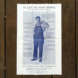 BIG DAM OVERALLS Denim Advertising Poster 1930s