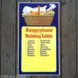 SUGGESTIONS FOR HOLIDAY TABLE Thanksgiving Poster 1930s