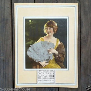 FLAPPER WITH FAN Full Padded Calendar 1918