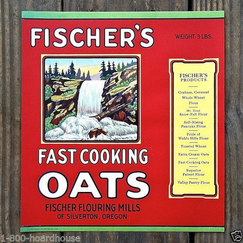 FISCHER'S FAST COOKING OATS Breakfast Cereal Box Label 1920s