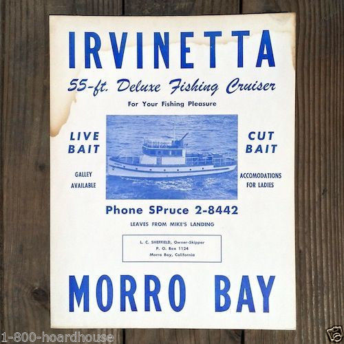 IRVINETTA FISHING CRUISER Cardboard Sign 1960s