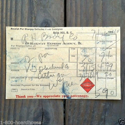 RAILWAY EXPRESS Train Railroad Receipt 1939-40s