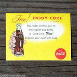 COCA COLA Coke Coupon Ticket 1965