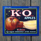 K-O APPLES Boxing Citrus Crate Label 1920s