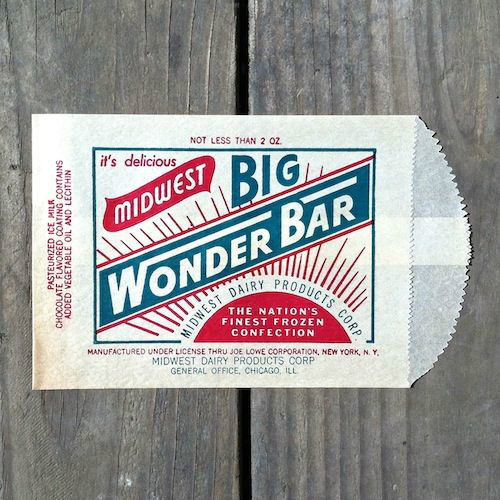 BIG WONDER BAR Ice Cream Snack Bag 1940s