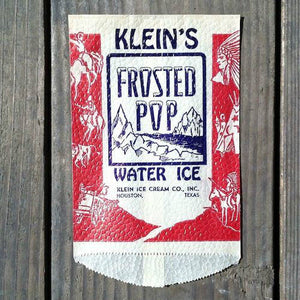 KLEIN'S FROSTED POP Popsicle Ice Cream Snack Bag 1940s