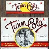 TWIN COLA Soda Bottle & Neck Labels 1930s