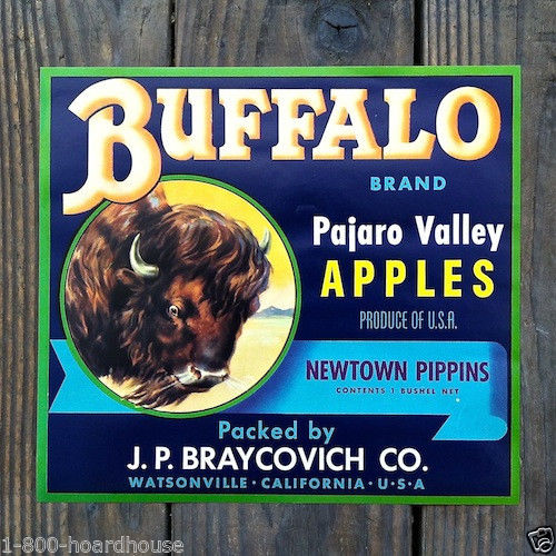 BUFFALO APPLES Fruit Citrus Crate Box Label 1930s