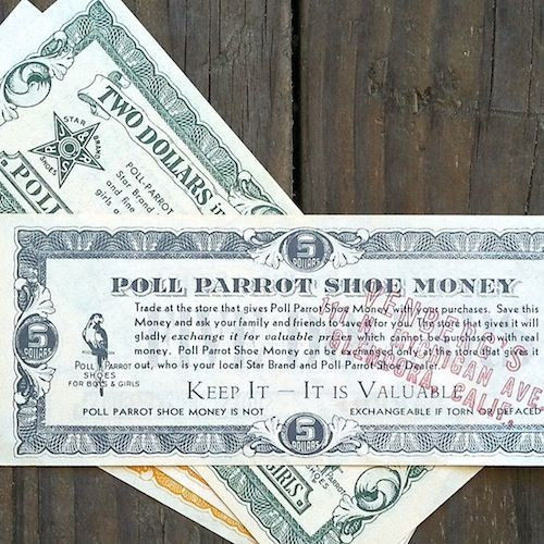 POLL PARROT Paper Shoe Money Coupons 1930-40s