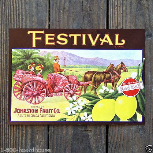 FESTIVAL Red Ball Lemon Crate Box Label 1920s