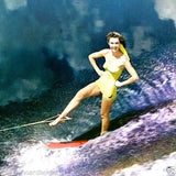 WATER SKIING PINUP GIRL Postcard 1970s