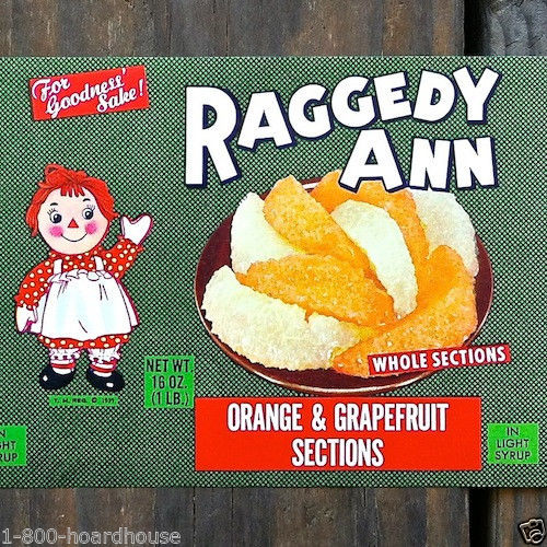 RAGGEDY ANN Citrus Fruit Can Label 1939