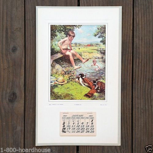 SWIMMING HOLE Promotional Advertising Calendar 1927