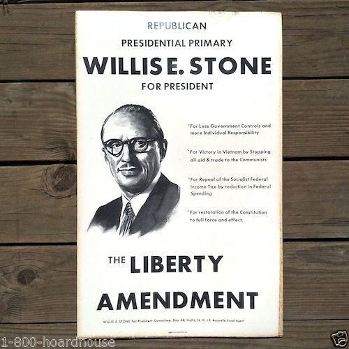 WILLIS STONE President Cardboard Sign 1960s