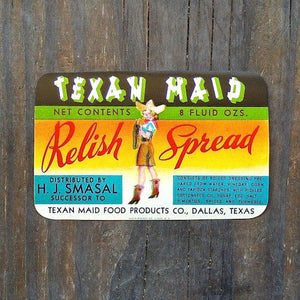 TEXAN MAID Relish Condiment Label 1950s