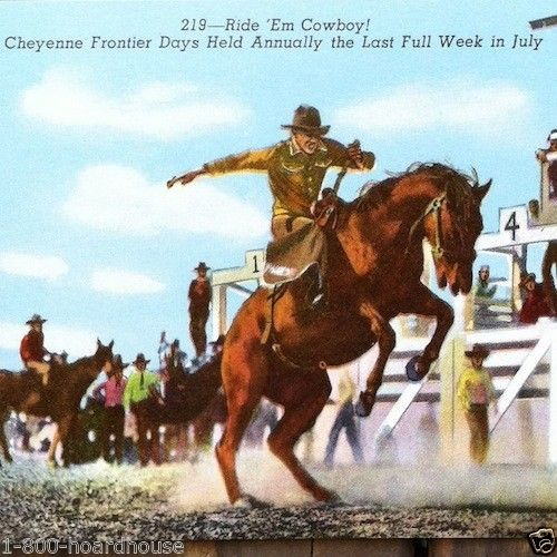 RIDE EM COWBOY Bronco Rodeo Postcard 1940s