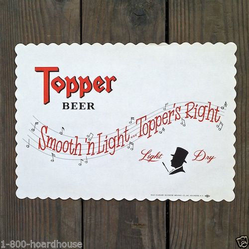 TOPPER BEER Paper Placemats 1930s