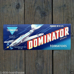 DOMINATOR TOMATOES Vegetable Can Label 1944