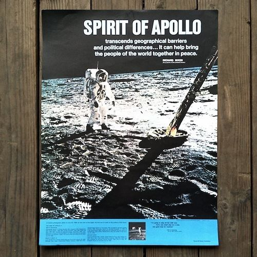 SPIRIT OF APOLLO XI Moon Walk Space Poster 1969