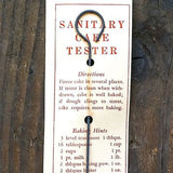 SANITARY CAKE TESTER  Instruction Display Card 1930s