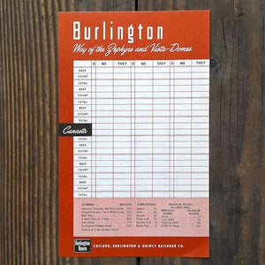 CB&Q BURLINGTON RAILROAD Canasta Game Sheet 1940s