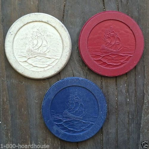 CASINO CLAY POKER Warships Chips 1910s