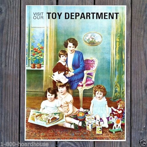 TOY DEPARTMENT Holiday Store Sign 1920s