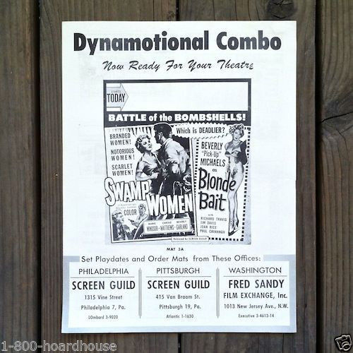 SWAMP WOMAN BLONDE BAIT Movie Show Posters 1950s