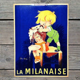 LA MILANAISE French Shampoo Cardboard Sign 1950s