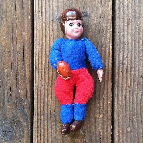 Japan FOOTBALL PLAYER Stuffed Doll Toy 1940s