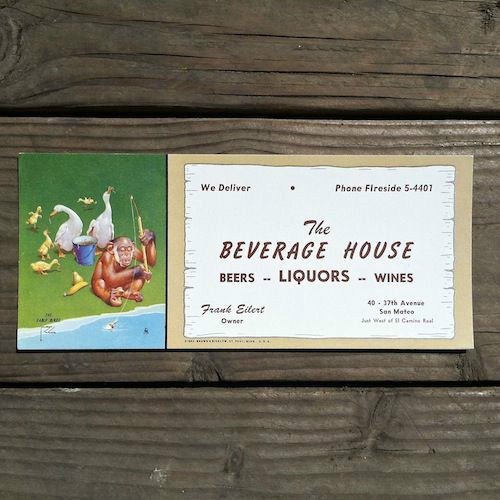 BEVERAGE HOUSE LIQUORS Early Bird Ink Blotter 1950s