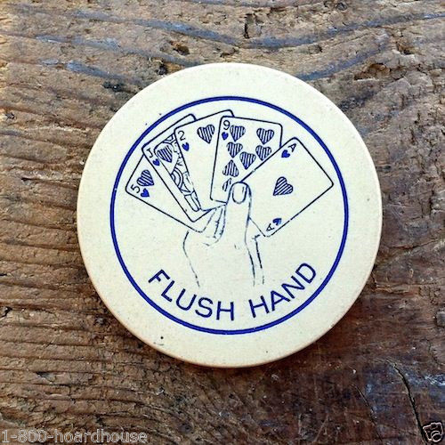 CASINO CLAY POKER CHIP Flush Hand Aces 1920s