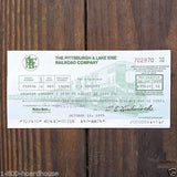 PITTSBURGH LAKE ERIE RAILROAD 1970s Payroll Checks