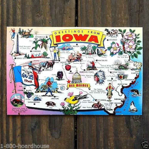 IOWA STATE Map Postcard 1970s