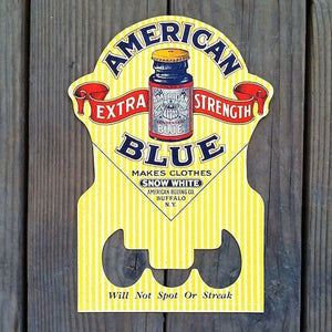 AMERICAN BLUE Store Display Cardboard Sign 1920s